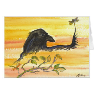 Raven Meets Dragonfly Greeting Cards