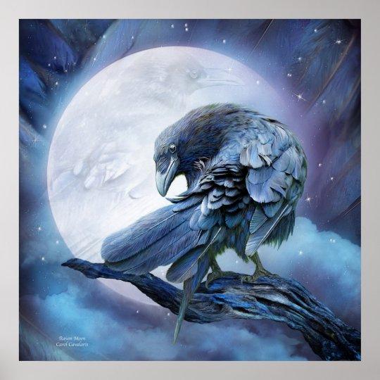 Raven Moon Art Poster/Print Poster