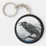 Raven Moon Basic Round Button Keychain