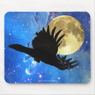 Raven, Moon & Outer Space Mousepad