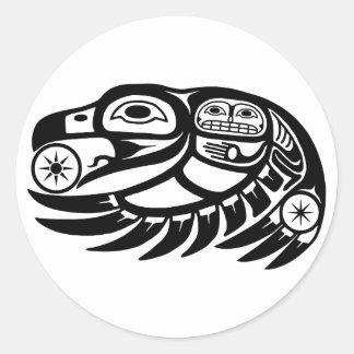Raven Native American Design Classic Round Sticker