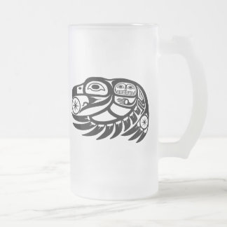 Raven Native American Design Frosted Glass Beer Mug