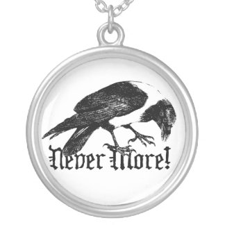 Raven Never More Round Pendant Necklace