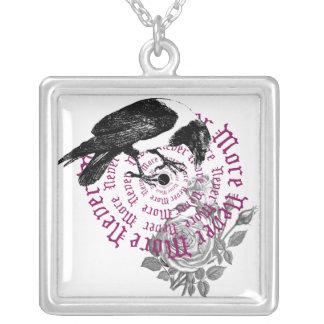 Raven Never More Square Pendant Necklace