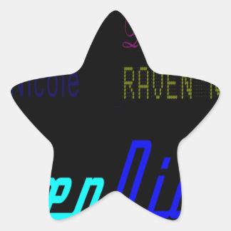 Raven Nicole Regular Logo and Numerous Names Star Sticker