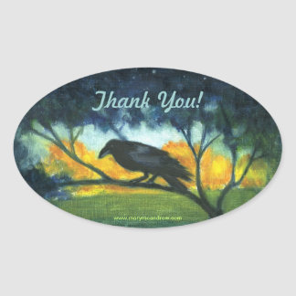 Raven Night Sky - Thank You stickers