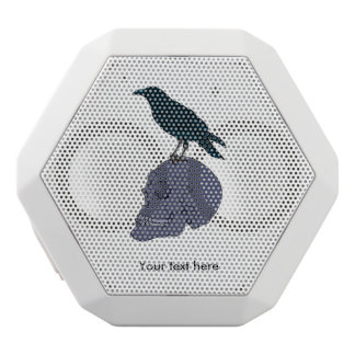 Raven On A Human Skull White Bluetooth Speaker