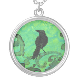 Raven on blue green abstract bird art necklace