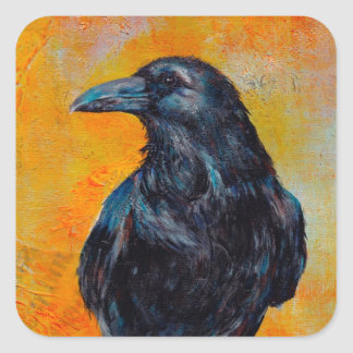 Raven on Canvas Square Sticker