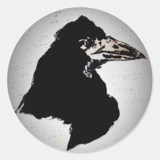 Raven on Orange Classic Round Sticker