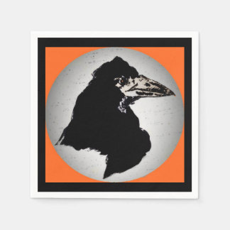 Raven on Orange Paper Napkin