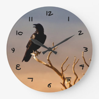 Raven on Sunlit Tree Branches, Grand Canyon Large Clock