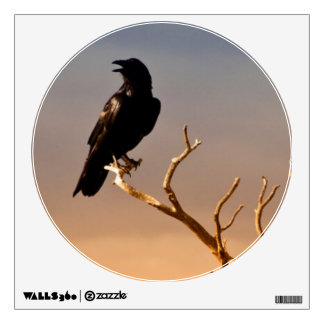 Raven on Sunlit Tree Branches, Grand Canyon Wall Skins