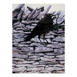 Raven On The Rock Wall Poster