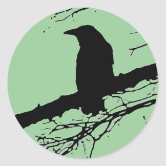 Raven on the Tree Classic Round Sticker
