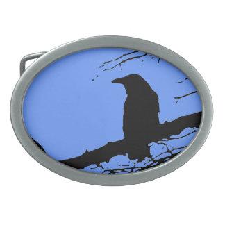 Raven on the Tree Oval Belt Buckle