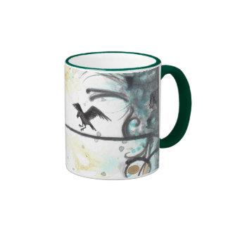 Raven on white + blue abstract bird art coffee mug