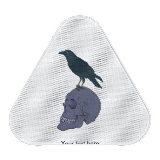 Raven Or Crow Standing On A Human Skull Speaker