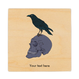 Raven Or Crow Standing On A Human Skull Wood Coaster