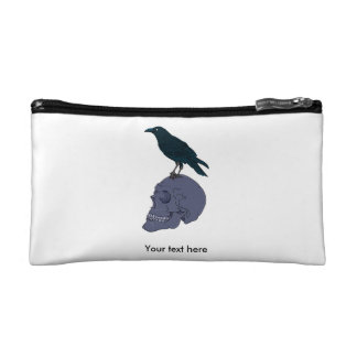 Raven Or Crow Standing On A Skull Makeup Bag