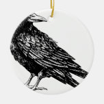 Raven Double-Sided Ceramic Round Christmas Ornament