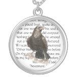 Raven over Edgar Allen Poe Poem, Nevermore Round Pendant Necklace