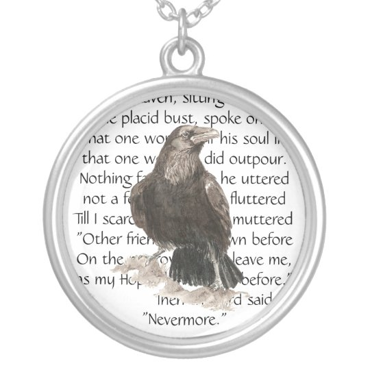 Raven over Edgar Allen Poe Poem, Nevermore Silver Plated Necklace