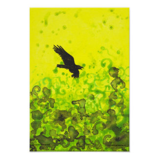 Raven over Treetops Yellow abstract bird poster