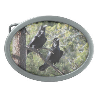 Raven Pair in the Mountain Oval Belt Buckle