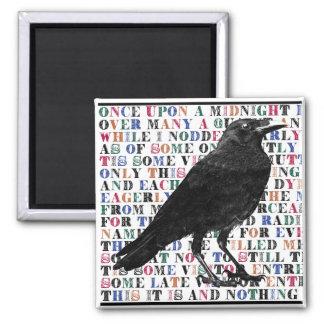 Raven Poem Edgar Allan Poe 2 Inch Square Magnet