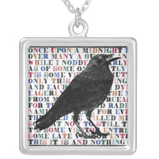 Raven Poem Edgar Allan Poe Silver Plated Necklace