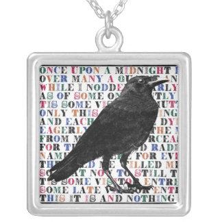 Raven Poem Edgar Allan Poe Square Pendant Necklace