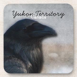 Raven Portrait; Yukon Territory Souvenir Beverage Coaster