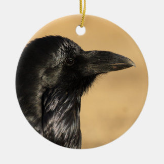 raven profile ceramic ornament