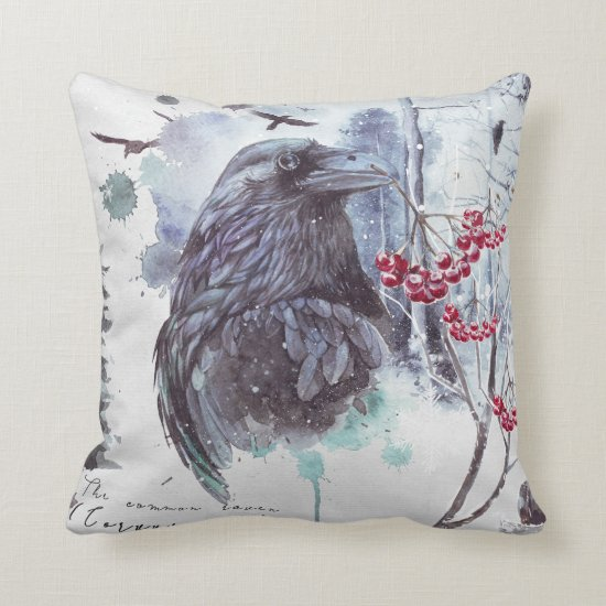 Raven Red Berries Abstract Watercolor Splash Throw Pillow