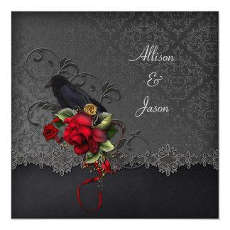 Raven Red Roses Black Gray Damask Card