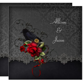 Raven Red Roses Black Gray Damask Invitation