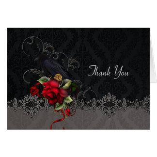 Raven Red Roses Black Gray Damask Thank You Card