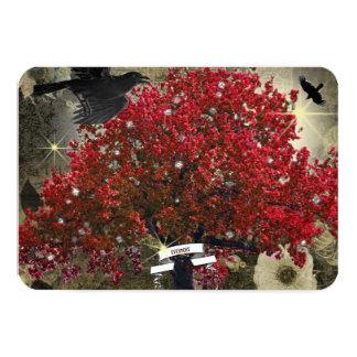 Raven Red Tree Tree Gothic RSVP Invitation
