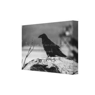 Raven Reflection wrapped Canvas Print