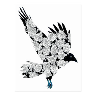 Raven & Roses Tattoo Gothic Illustration Postcard