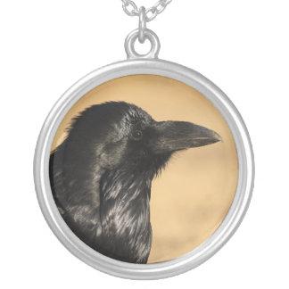 raven round pendant necklace