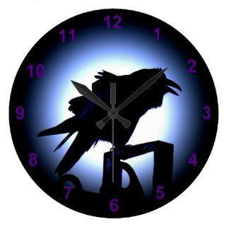 Raven Silhouette Against a Full Moon Wallclocks