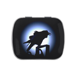 Raven Silhouette Against a Full Moon Jelly Belly Candy Tin