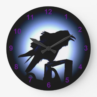 Raven Silhouette Against a Full Moon Large Clock