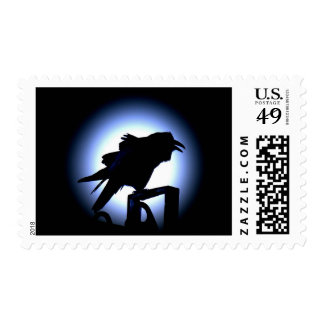 Raven Silhouette Against a Full Moon Postage