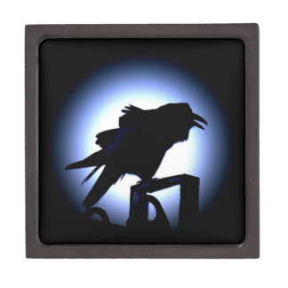 Raven Silhouette Against Full Moon Jewelry Box