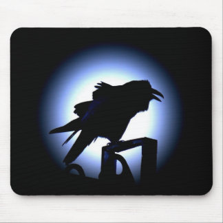 Raven Silhouette Against Full Moon Mouse Pad