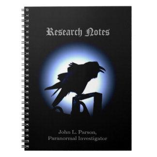 Raven Silhouette Against Full Moon Notebook