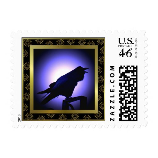 Raven Silhouette Against the Moon Stamps